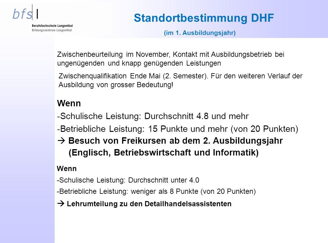 Standortbestimmung DHF (im 1. Ausbildungsjahr) Zwischenqualifikation Ende Mai (2.