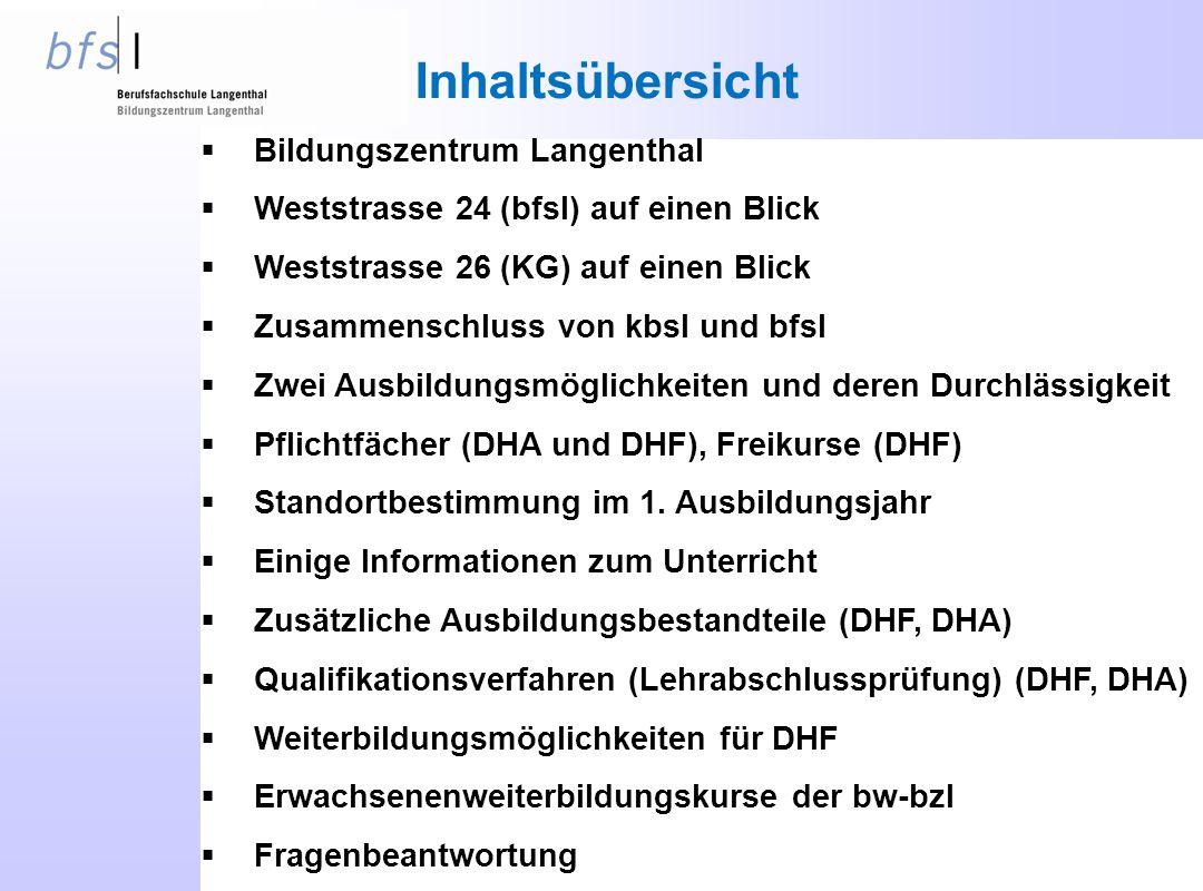 Inhaltsübersicht  Bildungszentrum Langenthal  Weststrasse 24 (bfsl) auf einen Blick  Weststrasse 26 (KG) auf einen Blick  Zusammenschluss von kbsl und bfsl  Zwei Ausbildungsmöglichkeiten und deren Durchlässigkeit  Pflichtfächer (DHA und DHF), Freikurse (DHF)  Standortbestimmung im 1.