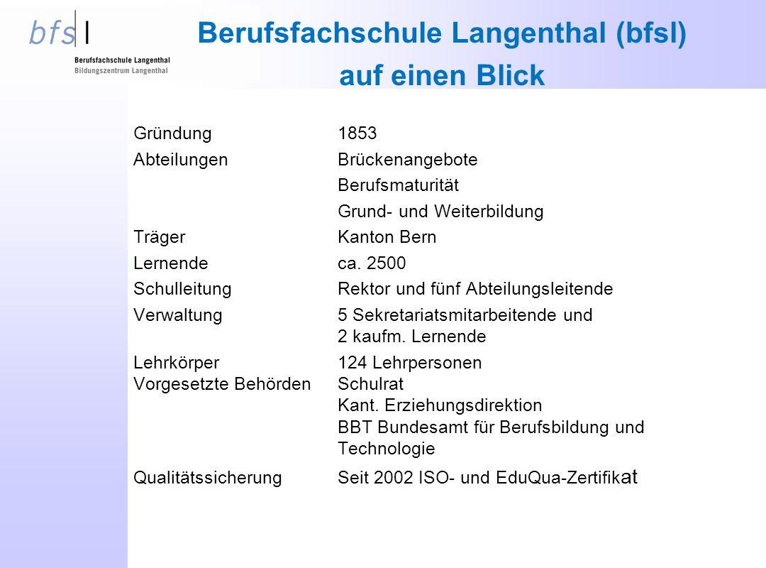 Berufsfachschule Langenthal (bfsl) auf einen Blick Gründung1853 AbteilungenBrückenangebote Berufsmaturität Grund- und Weiterbildung TrägerKanton Bern Lernendeca.