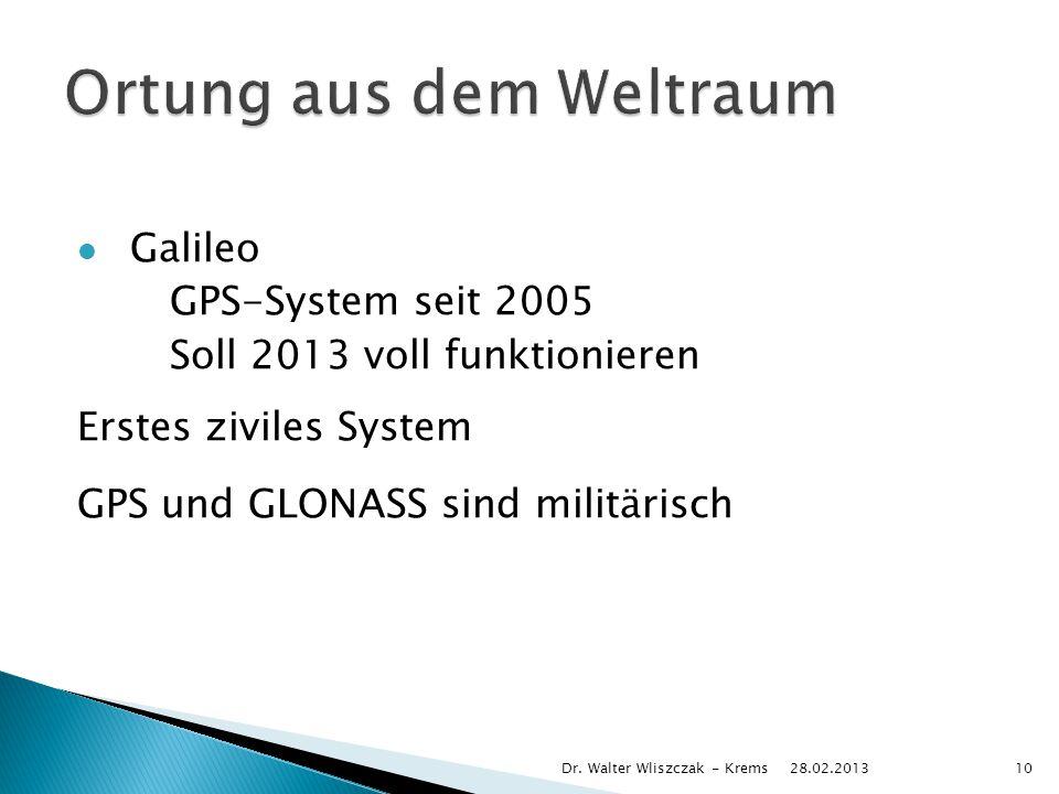 Galileo GPS-System seit 2005 Soll 2013 voll funktionieren Erstes ziviles System GPS und GLONASS sind militärisch 28.02.2013 Dr.