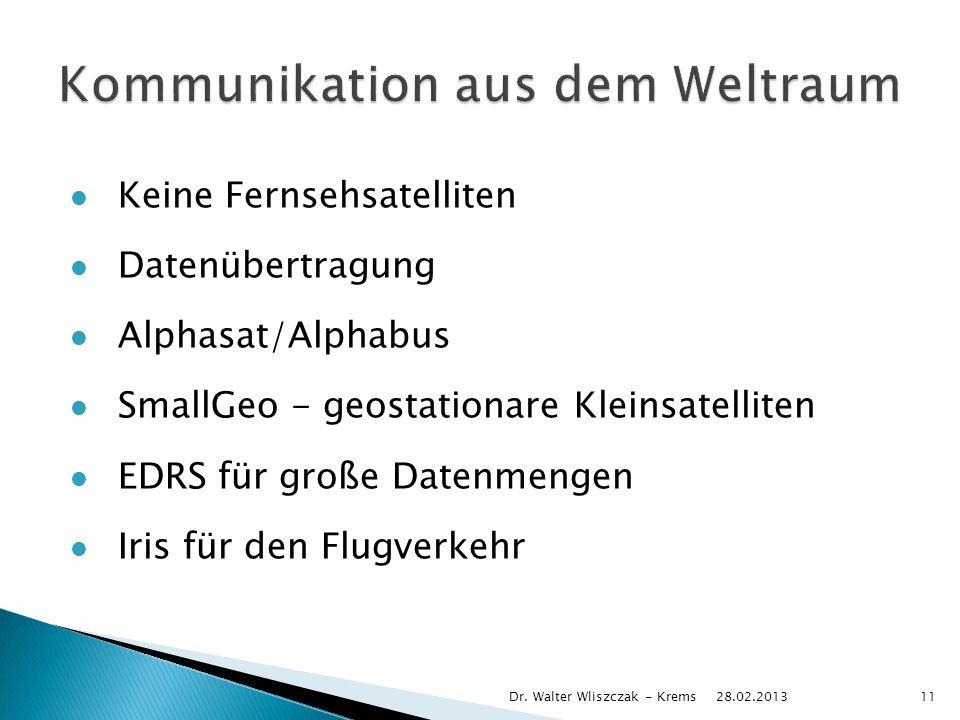 Keine Fernsehsatelliten Datenübertragung Alphasat/Alphabus SmallGeo - geostationare Kleinsatelliten EDRS für große Datenmengen Iris für den Flugverkehr 28.02.2013 Dr.
