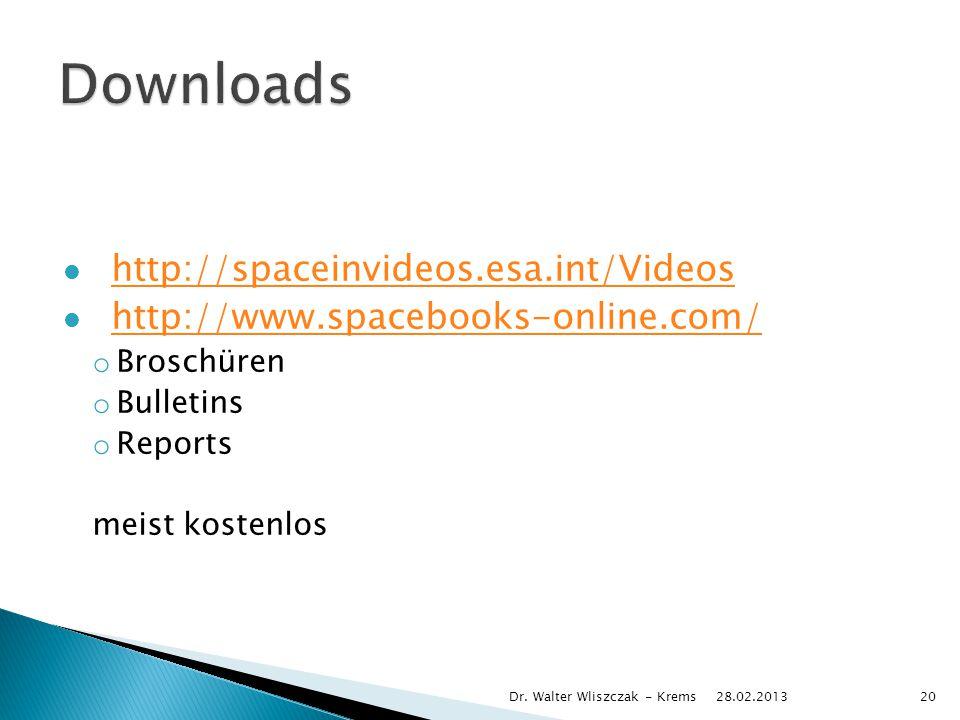 http://spaceinvideos.esa.int/Videos http://www.spacebooks-online.com/ o Broschüren o Bulletins o Reports meist kostenlos 28.02.2013 Dr.
