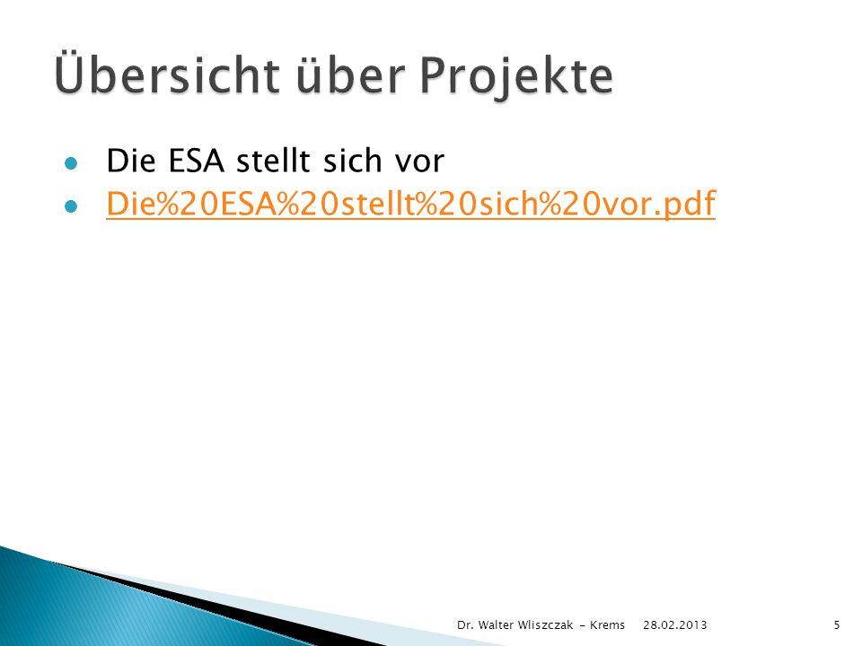 Die ESA stellt sich vor Die%20ESA%20stellt%20sich%20vor.pdf 28.02.2013 Dr. Walter Wliszczak - Krems5