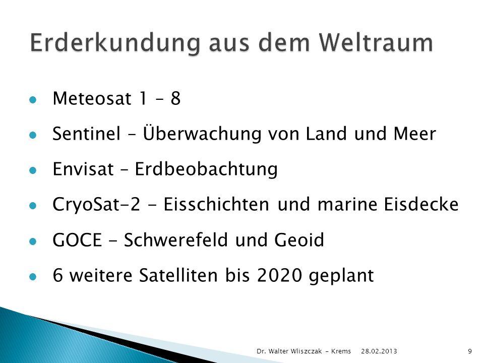 Meteosat 1 – 8 Sentinel – Überwachung von Land und Meer Envisat – Erdbeobachtung CryoSat-2 - Eisschichten und marine Eisdecke GOCE - Schwerefeld und Geoid 6 weitere Satelliten bis 2020 geplant 28.02.2013 Dr.