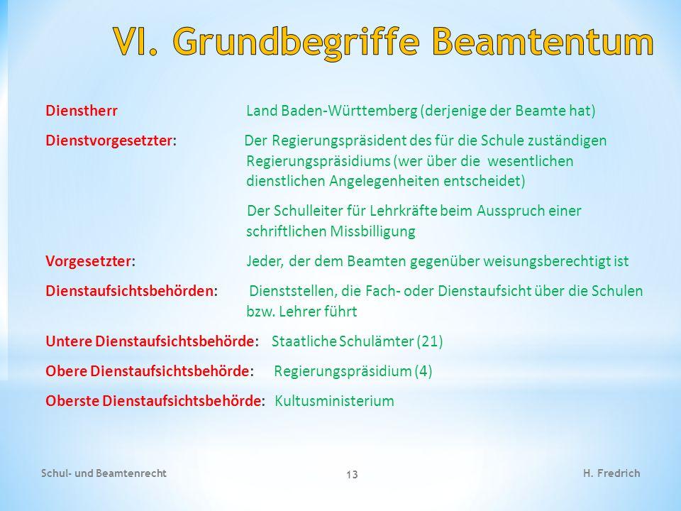 Dienstherr Land Baden-Württemberg (derjenige der Beamte hat) Dienstvorgesetzter: Der Regierungspräsident des für die Schule zuständigen Regierungspräs