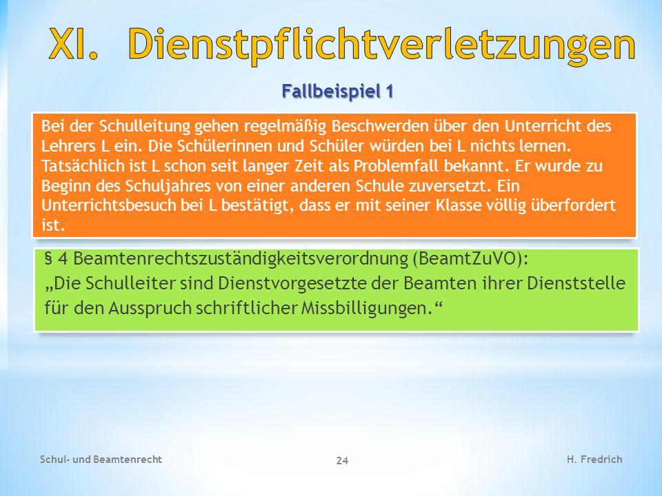 Fallbeispiel 1 Schul- und Beamtenrecht 24 H. Fredrich Bei der Schulleitung gehen regelmäßig Beschwerden über den Unterricht des Lehrers L ein. Die Sch