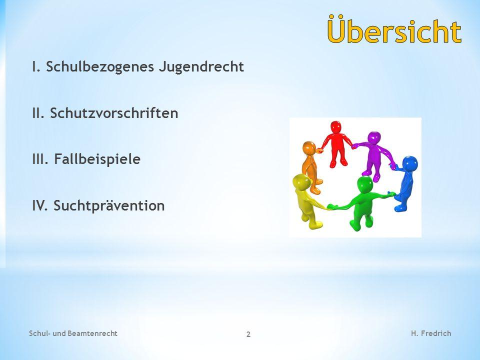 I. Schulbezogenes Jugendrecht II. Schutzvorschriften III. Fallbeispiele IV. Suchtprävention Schul- und Beamtenrecht 2 H. Fredrich