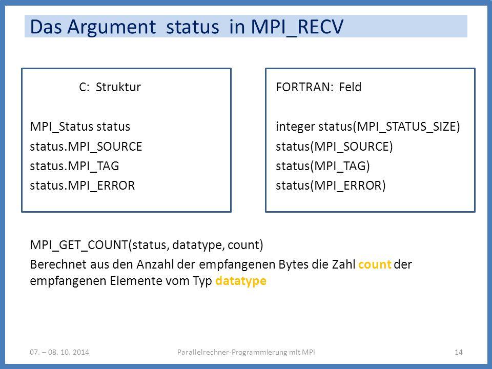 Das Argument status in MPI_RECV C: StrukturFORTRAN: Feld MPI_Status statusinteger status(MPI_STATUS_SIZE) status.MPI_SOURCEstatus(MPI_SOURCE) status.MPI_TAG status(MPI_TAG) status.MPI_ERROR status(MPI_ERROR) MPI_GET_COUNT(status, datatype, count) Berechnet aus den Anzahl der empfangenen Bytes die Zahl count der empfangenen Elemente vom Typ datatype Parallelrechner-Programmierung mit MPI1407.