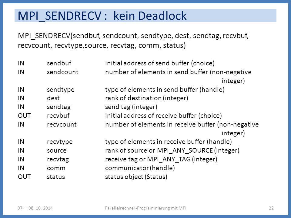 MPI_SENDRECV : kein Deadlock Parallelrechner-Programmierung mit MPI2207. – 08. 10. 2014 MPI_SENDRECV(sendbuf, sendcount, sendtype, dest, sendtag, recv