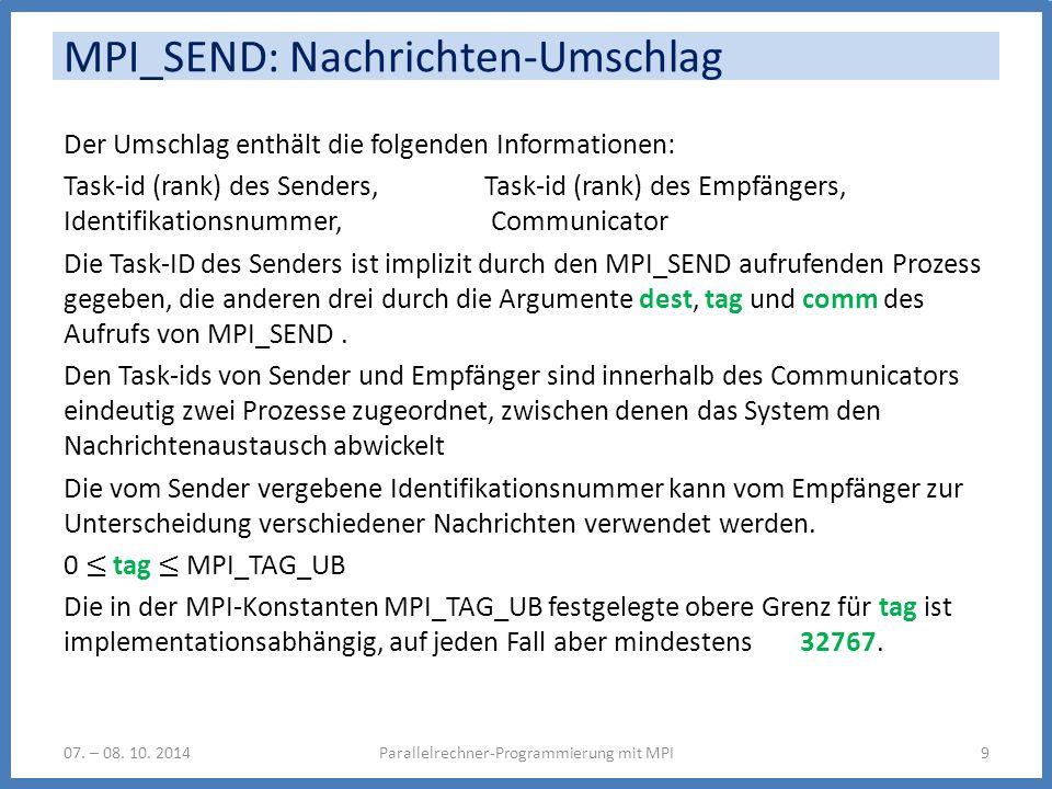 MPI_SEND: Nachrichten-Umschlag Parallelrechner-Programmierung mit MPI907. – 08. 10. 2014