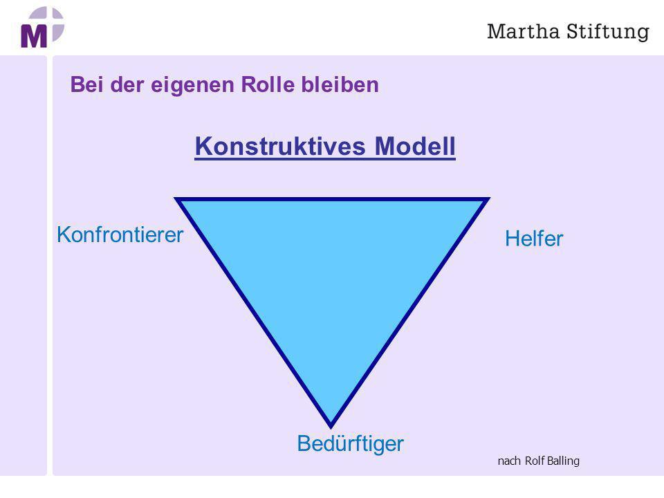 Bei der eigenen Rolle bleiben Konstruktives Modell Helfer Bedürftiger Konfrontierer nach Rolf Balling