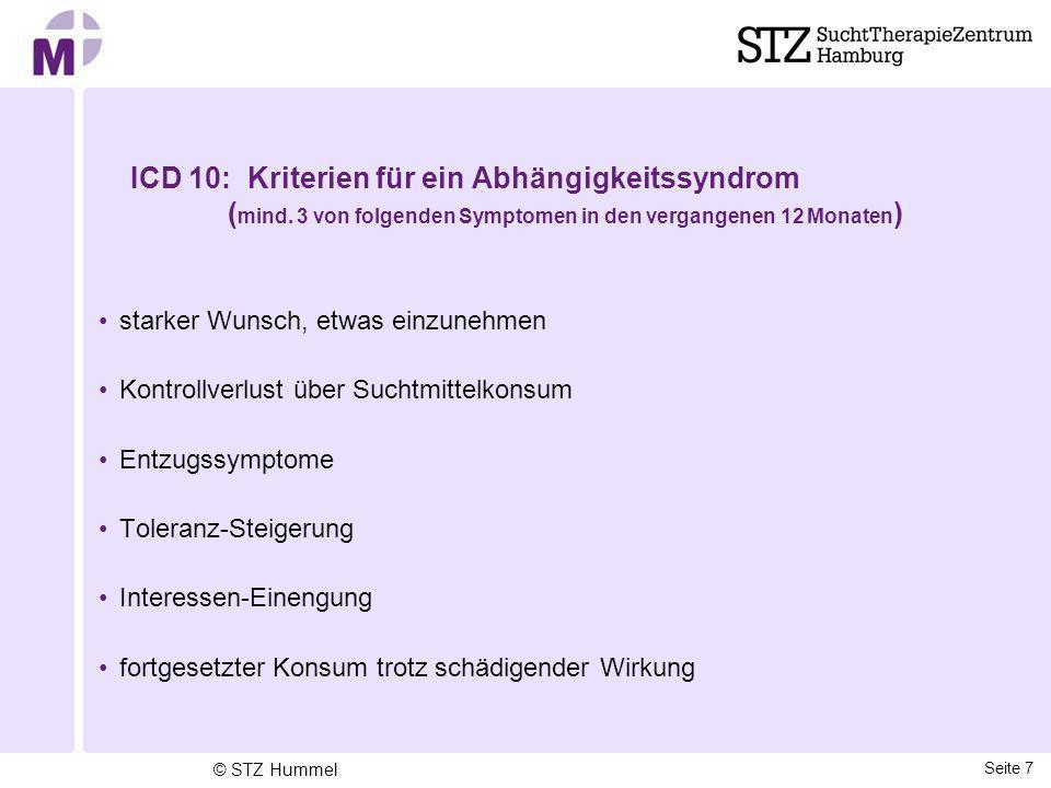 ICD 10: Kriterien für ein Abhängigkeitssyndrom ( mind. 3 von folgenden Symptomen in den vergangenen 12 Monaten ) starker Wunsch, etwas einzunehmen Kon