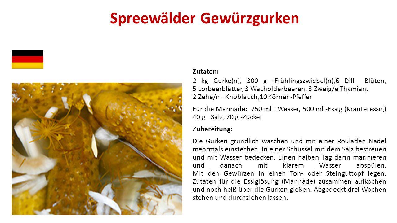 Spreewälder Gewürzgurken Zutaten: 2 kg Gurke(n), 300 g -Frühlingszwiebel(n),6 Dill Blüten, 5 Lorbeerblätter, 3 Wacholderbeeren, 3 Zweig/e Thymian, 2 Z