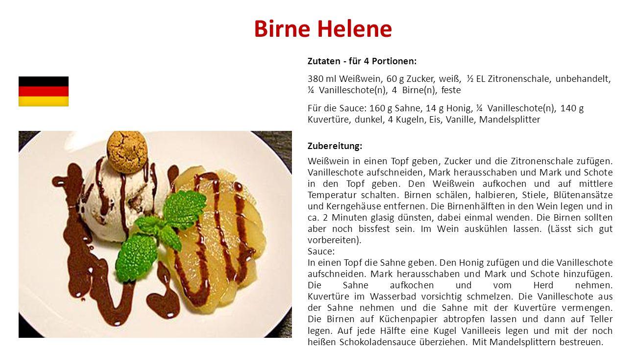 Birne Helene Zutaten - für 4 Portionen: 380 ml Weißwein, 60 g Zucker, weiß, ½ EL Zitronenschale, unbehandelt, ¼ Vanilleschote(n), 4 Birne(n), feste Fü