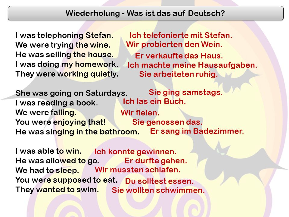 Wiederholung - Was ist das auf Deutsch? I was telephoning Stefan. We were trying the wine. He was selling the house. I was doing my homework. They wer