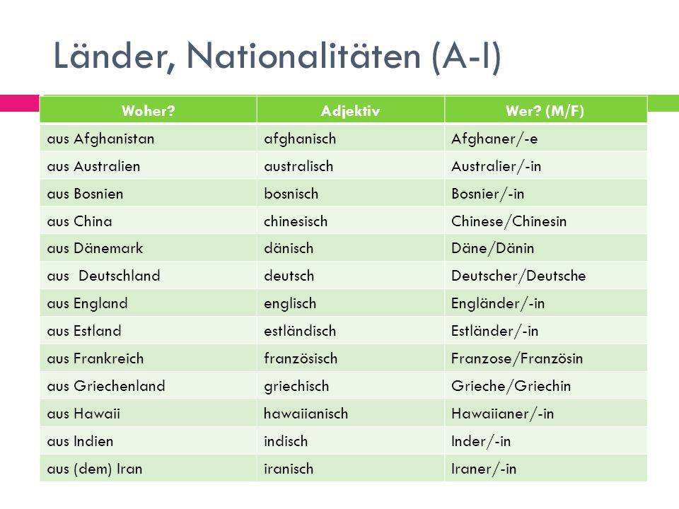 Länder, Nationalitäten (A-I) Woher?AdjektivWer? (M/F) aus AfghanistanafghanischAfghaner/-e aus AustralienaustralischAustralier/-in aus Bosnienbosnisch