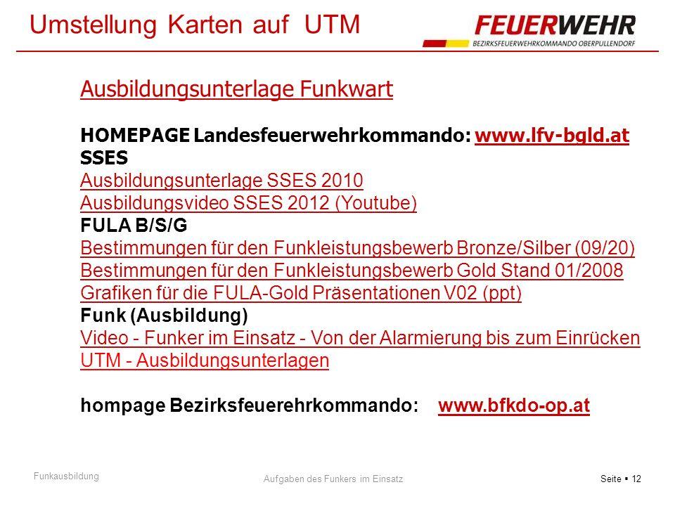 Seite  12 Aufgaben des Funkers im Einsatz Funkausbildung Umstellung Karten auf UTM Ausbildungsunterlage Funkwart HOMEPAGE Landesfeuerwehrkommando: ww