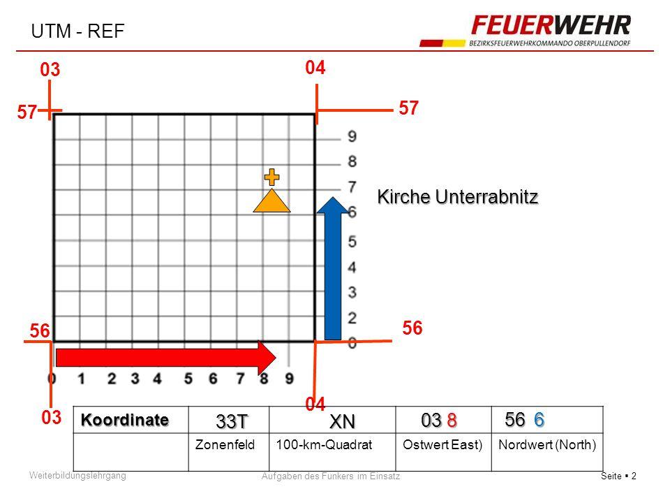Seite  2 Aufgaben des Funkers im Einsatz Weiterbildungslehrgang 03 Kirche Unterrabnitz 03 56 04 57 56 57 04Koordinate Zonenfeld100-km-QuadratOstwert