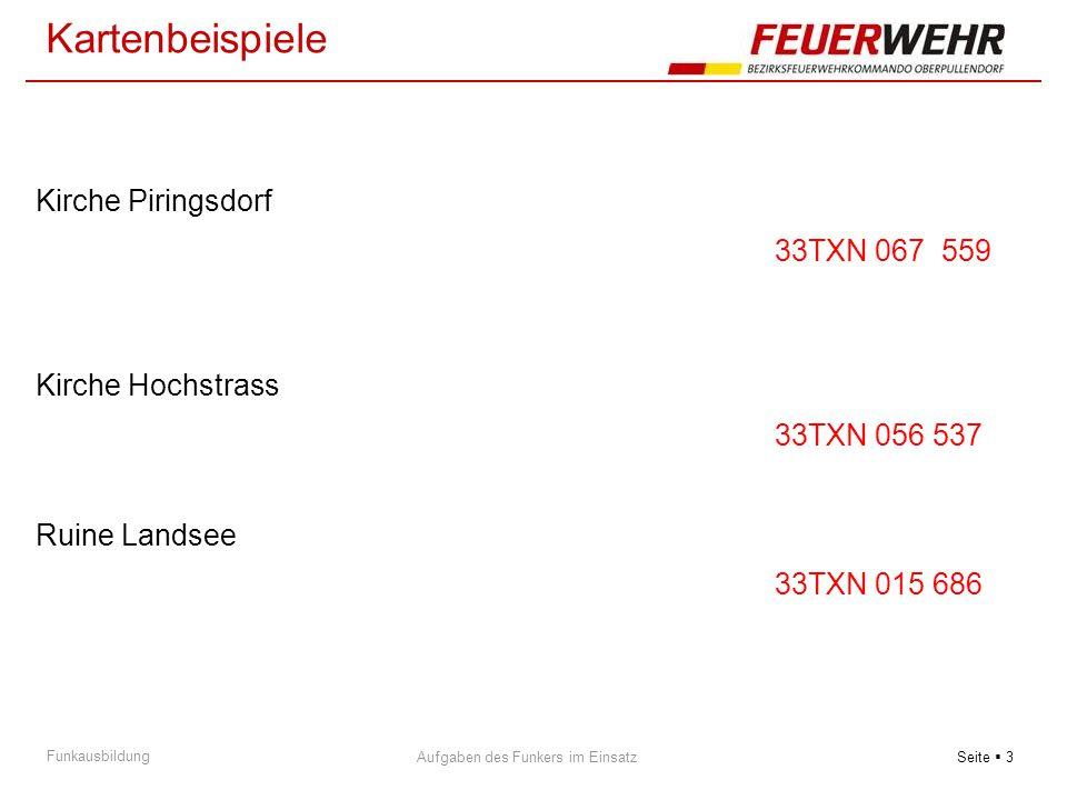Seite  3 Aufgaben des Funkers im Einsatz Funkausbildung Kirche Piringsdorf 33TXN 067 559 Kirche Hochstrass 33TXN 056 537 Ruine Landsee 33TXN 015 686