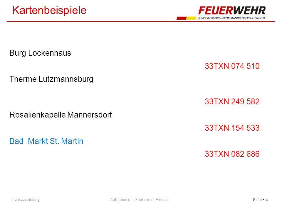 Seite  5 Aufgaben des Funkers im Einsatz Funkausbildung 33TXN 183 528 Weingartenkapelle Klostermarienberg 33TXN 113 585 ST.Donat Bildstock Steinberg 33TXN 143 704 Wasserwek Raiding Kartenbeispiele