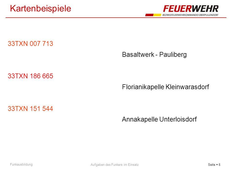 Seite  6 Aufgaben des Funkers im Einsatz Funkausbildung 33TXN 007 713 Basaltwerk - Pauliberg 33TXN 186 665 Florianikapelle Kleinwarasdorf 33TXN 151 5