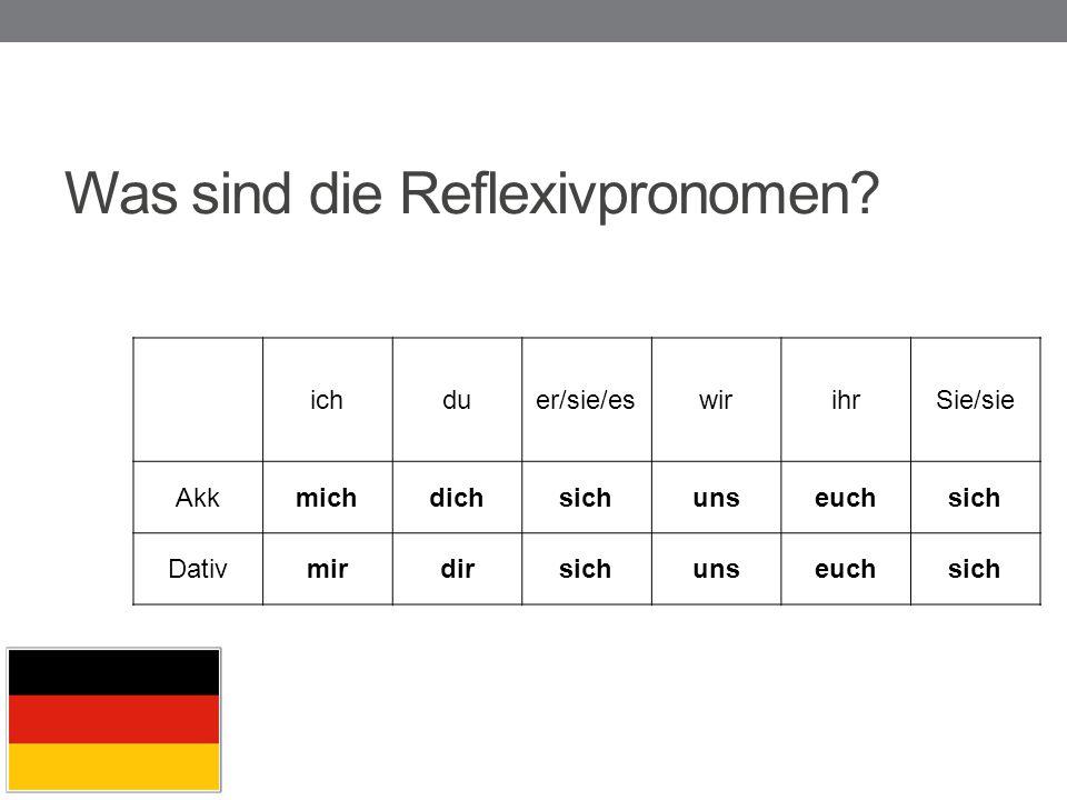 Was sind die Reflexivpronomen? ichduer/sie/eswirihrSie/sie Akkmichdichsichunseuchsich Dativmirdirsichunseuchsich
