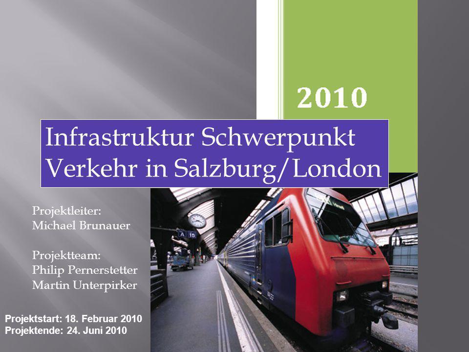 Projektleiter: Michael Brunauer Projektteam: Philip Pernerstetter Martin Unterpirker Infrastruktur Schwerpunkt Verkehr in Salzburg/London Projektstart: 18.