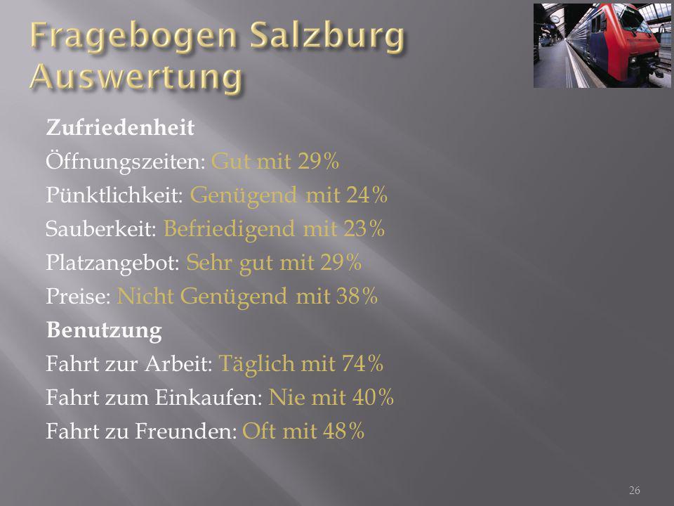 Zufriedenheit Öffnungszeiten: Gut mit 29% Pünktlichkeit: Genügend mit 24% Sauberkeit: Befriedigend mit 23% Platzangebot: Sehr gut mit 29% Preise: Nich