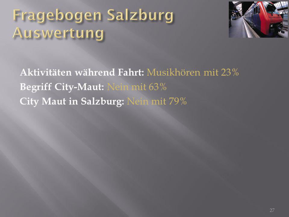 Aktivitäten während Fahrt: Musikhören mit 23% Begriff City-Maut: Nein mit 63% City Maut in Salzburg: Nein mit 79% 27