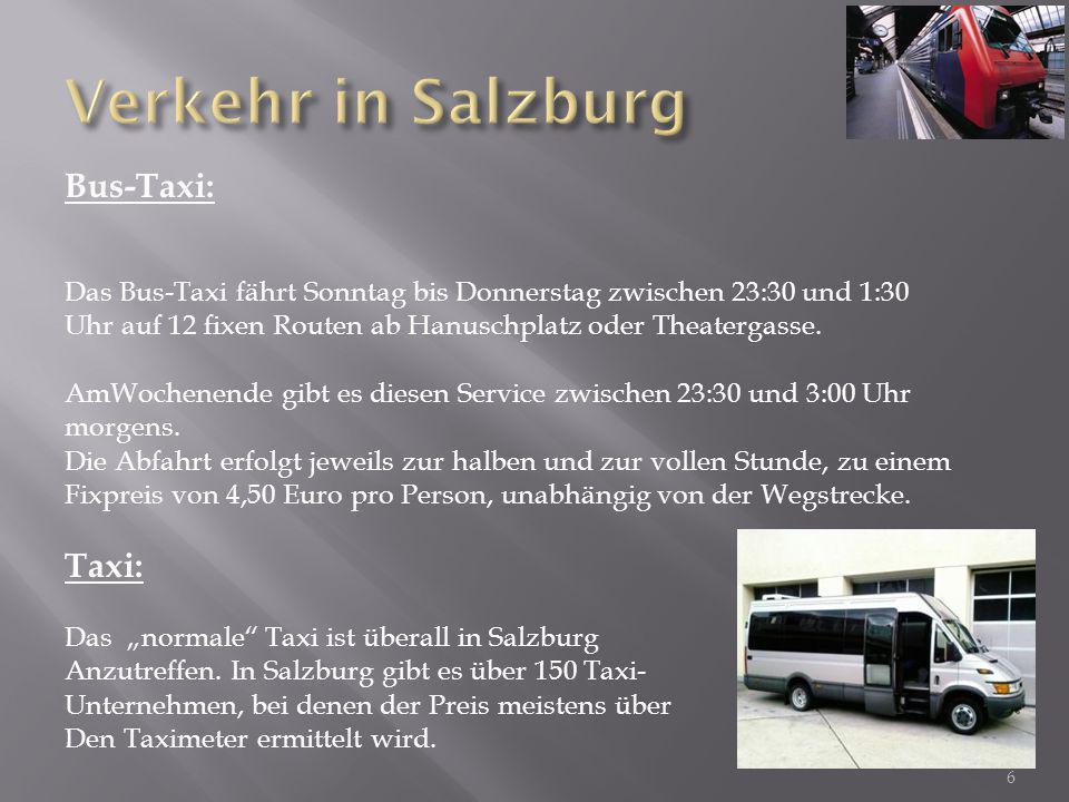 Bus-Taxi: Das Bus-Taxi fährt Sonntag bis Donnerstag zwischen 23:30 und 1:30 Uhr auf 12 fixen Routen ab Hanuschplatz oder Theatergasse.