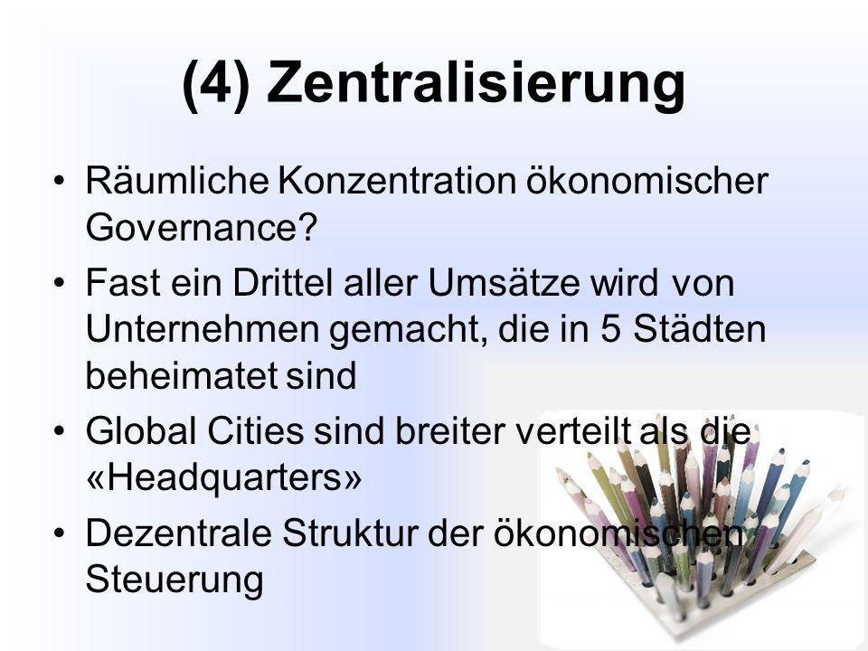 (4) Zentralisierung Räumliche Konzentration ökonomischer Governance.