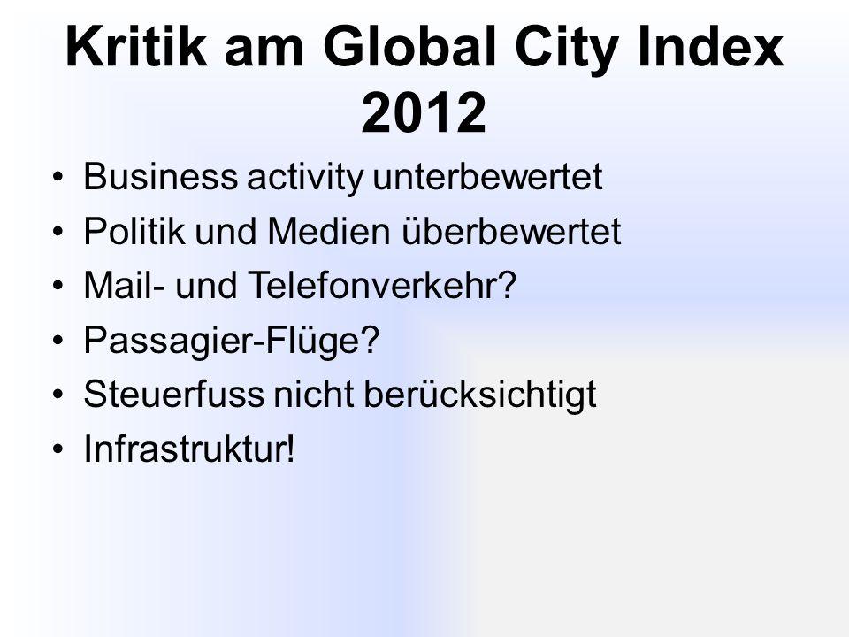 Kritik am Global City Index 2012 Business activity unterbewertet Politik und Medien überbewertet Mail- und Telefonverkehr.