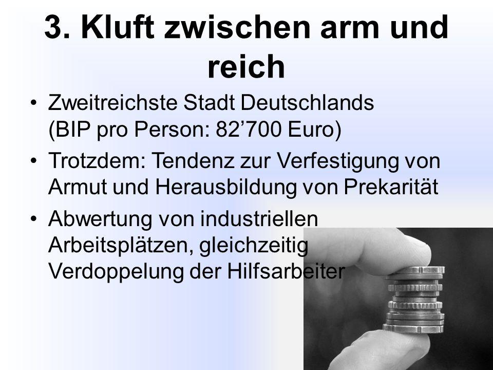 3. Kluft zwischen arm und reich Zweitreichste Stadt Deutschlands (BIP pro Person: 82'700 Euro) Trotzdem: Tendenz zur Verfestigung von Armut und Heraus