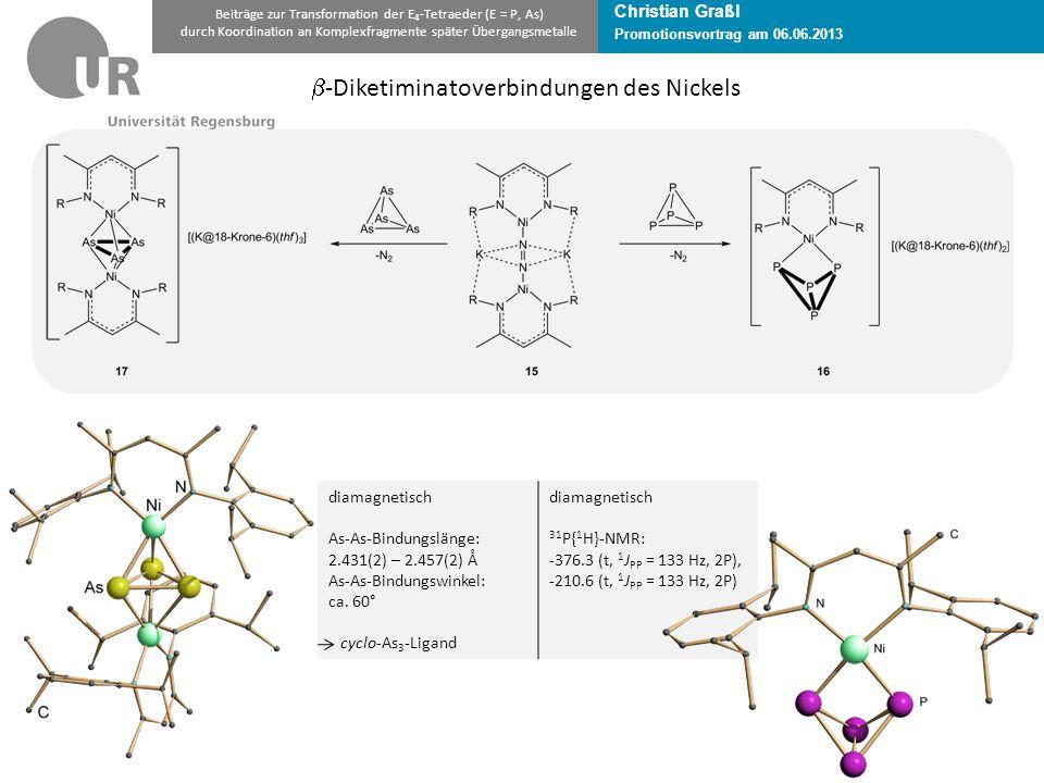Christian Graßl Promotionsvortrag am 06.06.2013 Beiträge zur Transformation der E 4 -Tetraeder (E = P, As) durch Koordination an Komplexfragmente später Übergangsmetalle  -Diketiminatoverbindungen des Nickels diamagnetisch As-As-Bindungslänge: 2.431(2) – 2.457(2) Å As-As-Bindungswinkel: ca.