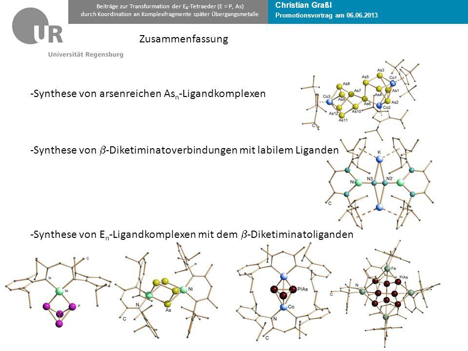 Christian Graßl Promotionsvortrag am 06.06.2013 Beiträge zur Transformation der E 4 -Tetraeder (E = P, As) durch Koordination an Komplexfragmente später Übergangsmetalle Zusammenfassung -Synthese von arsenreichen As n -Ligandkomplexen -Synthese von  -Diketiminatoverbindungen mit labilem Liganden -Synthese von E n -Ligandkomplexen mit dem  -Diketiminatoliganden