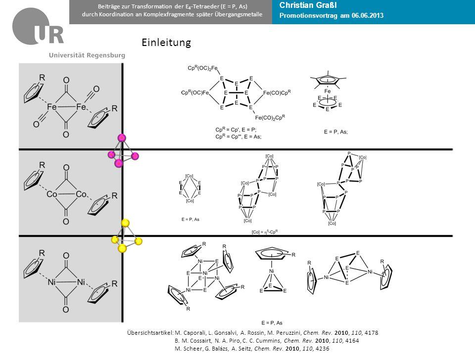 Promotionsvortrag am 06.06.2013 Beiträge zur Transformation der E 4 -Tetraeder (E = P, As) durch Koordination an Komplexfragmente später Übergangsmetalle Übersichtsartikel:M.