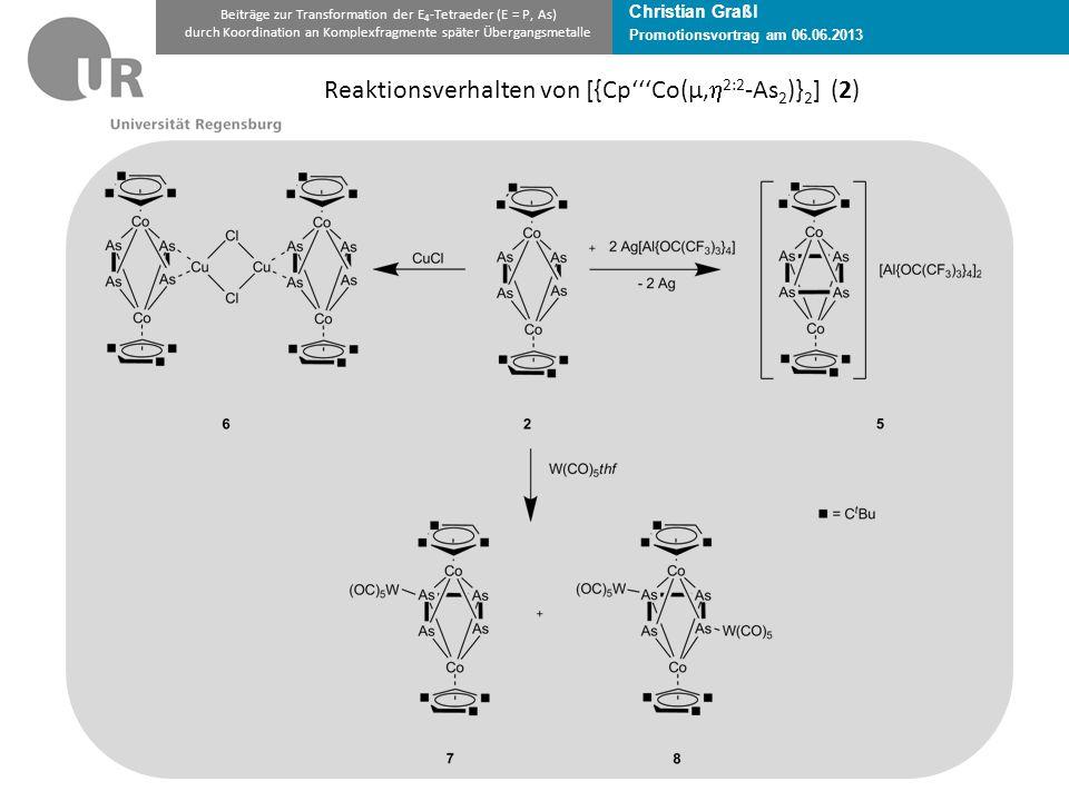 Christian Graßl Promotionsvortrag am 06.06.2013 Beiträge zur Transformation der E 4 -Tetraeder (E = P, As) durch Koordination an Komplexfragmente später Übergangsmetalle Reaktionsverhalten von [{Cp'''Co(µ,  2:2 -As 2 )} 2 ] (2)
