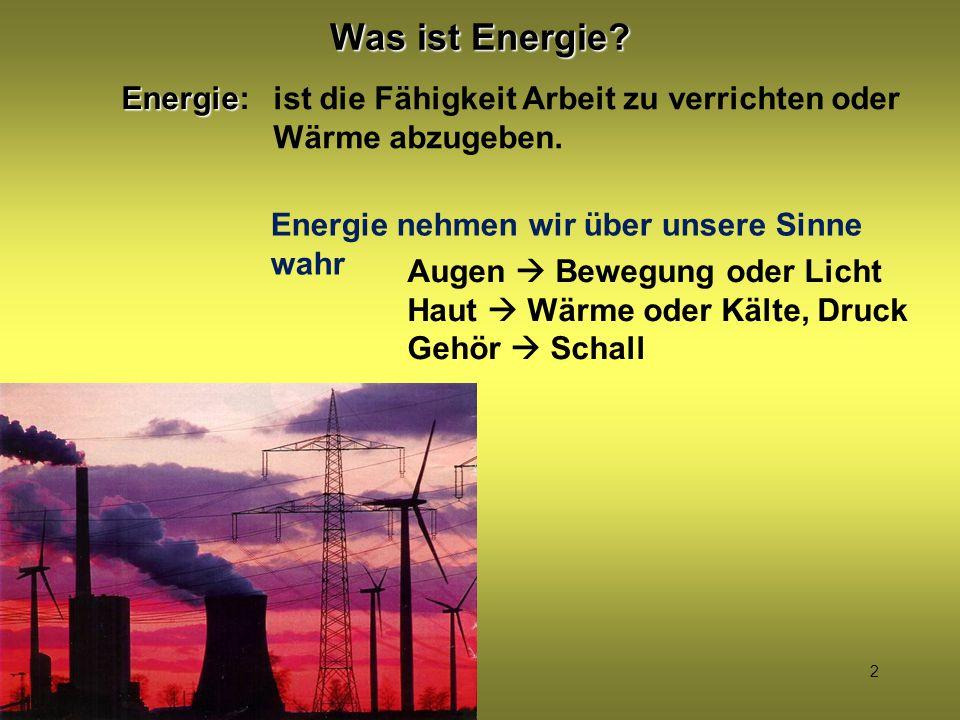 2 Was ist Energie? Energie Energie: ist die Fähigkeit Arbeit zu verrichten oder Wärme abzugeben. Energie nehmen wir über unsere Sinne wahr Augen  Bew