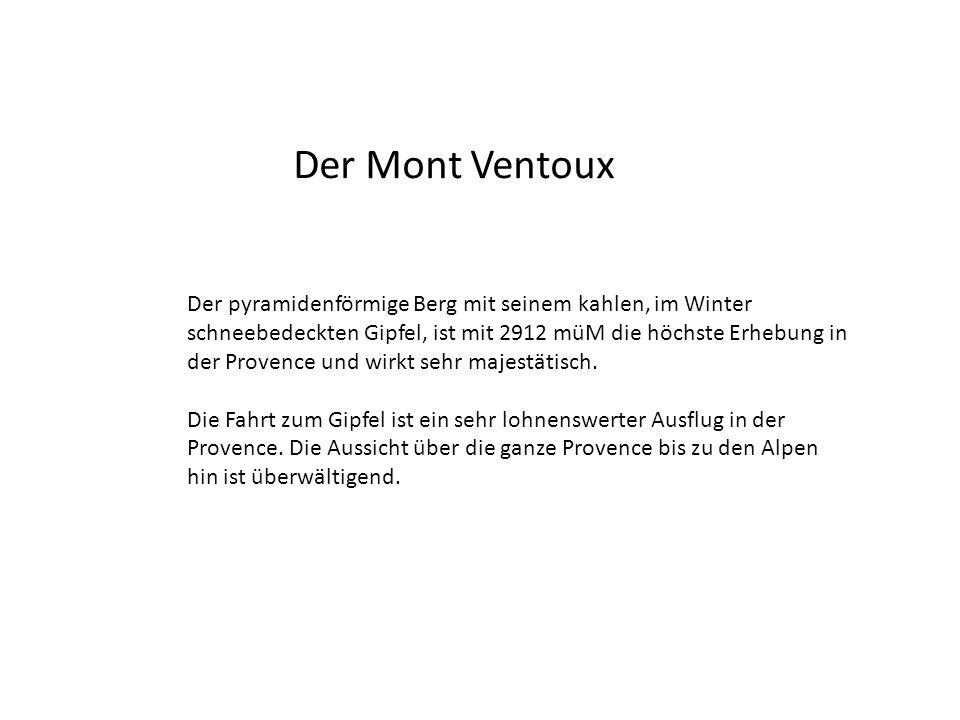 Der Mont Ventoux Der pyramidenförmige Berg mit seinem kahlen, im Winter schneebedeckten Gipfel, ist mit 2912 müM die höchste Erhebung in der Provence und wirkt sehr majestätisch.