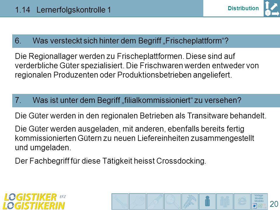"""Distribution 1.14 Lernerfolgskontrolle 1 20 Was versteckt sich hinter dem Begriff """"Frischeplattform ?6."""