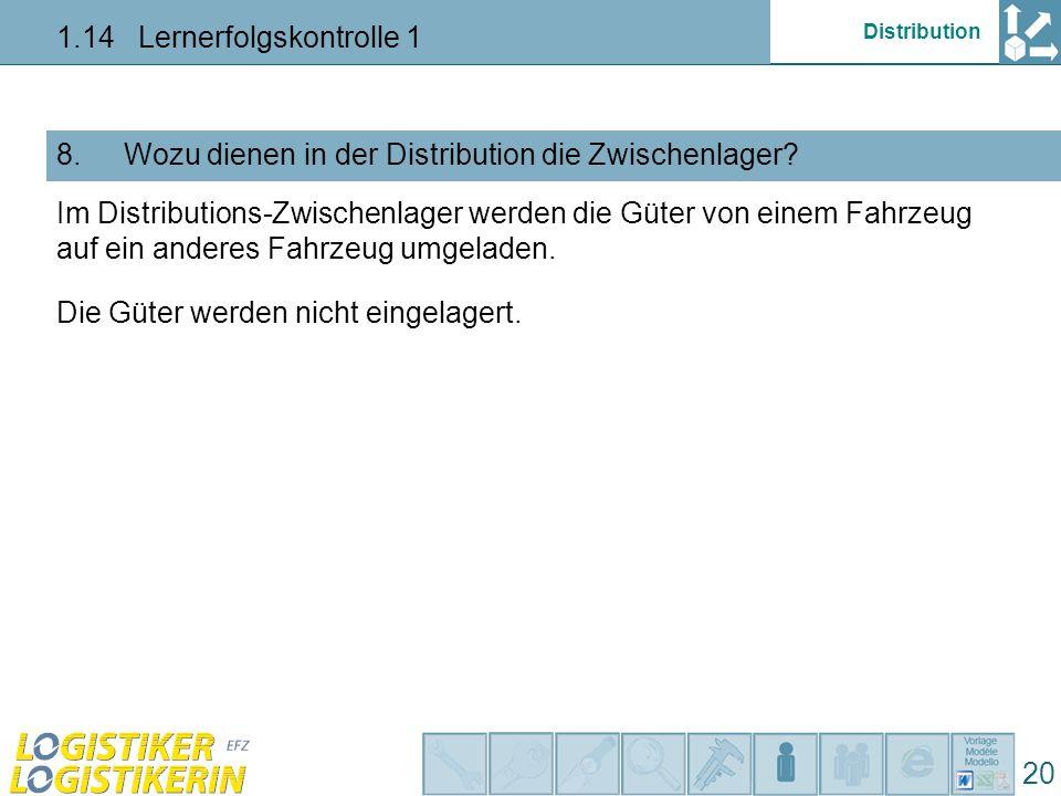 Distribution 1.14 Lernerfolgskontrolle 1 20 Wozu dienen in der Distribution die Zwischenlager?8.