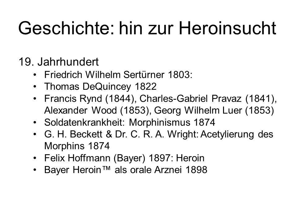 Geschichte: hin zur Heroinsucht 19. Jahrhundert Friedrich Wilhelm Sertürner 1803: Thomas DeQuincey 1822 Francis Rynd (1844), Charles-Gabriel Pravaz (1