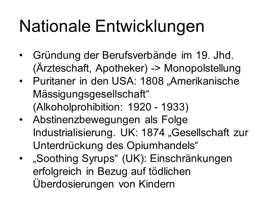 """Nationale Entwicklungen Gründung der Berufsverbände im 19. Jhd. (Ärzteschaft, Apotheker) -> Monopolstellung Puritaner in den USA: 1808 """"Amerikanische"""