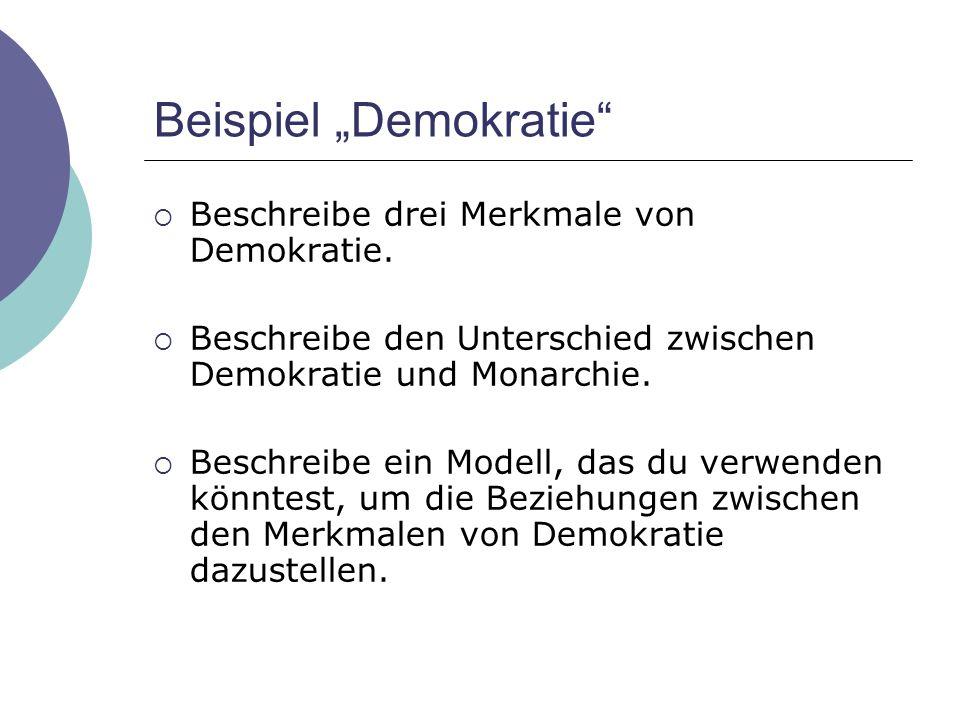 """Beispiel """"Demokratie""""  Beschreibe drei Merkmale von Demokratie.  Beschreibe den Unterschied zwischen Demokratie und Monarchie.  Beschreibe ein Mode"""