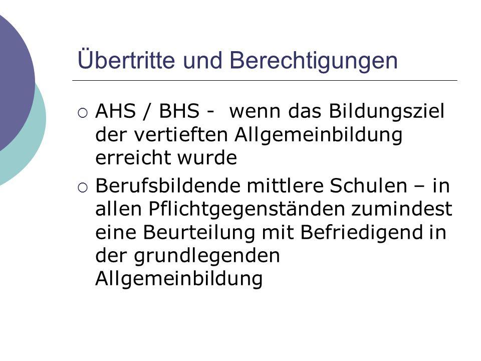 Übertritte und Berechtigungen  AHS / BHS - wenn das Bildungsziel der vertieften Allgemeinbildung erreicht wurde  Berufsbildende mittlere Schulen – i