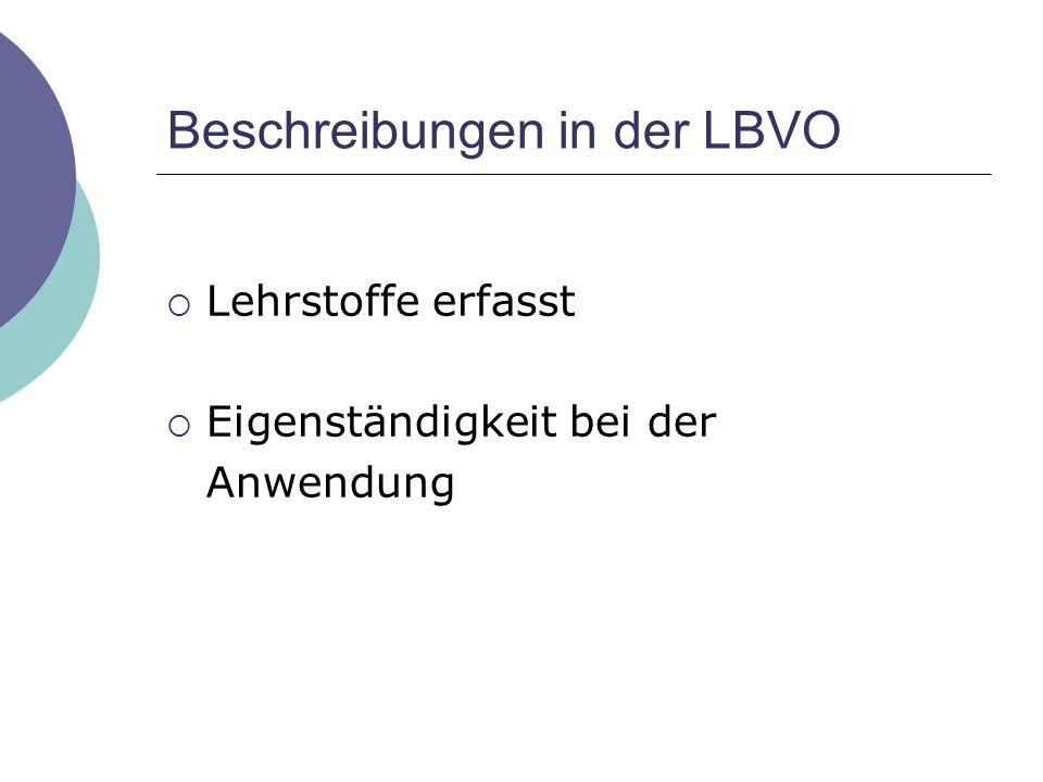 Beschreibungen in der LBVO  Lehrstoffe erfasst  Eigenständigkeit bei der Anwendung