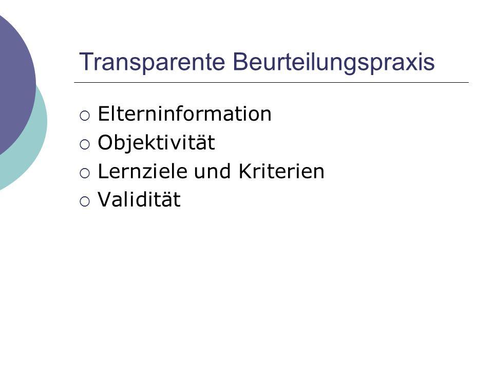 Transparente Beurteilungspraxis  Elterninformation  Objektivität  Lernziele und Kriterien  Validität