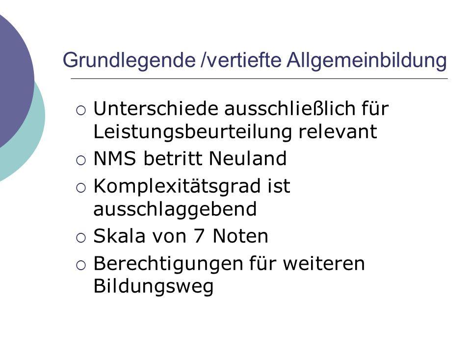 Grundlegende /vertiefte Allgemeinbildung  Unterschiede ausschließlich für Leistungsbeurteilung relevant  NMS betritt Neuland  Komplexitätsgrad ist