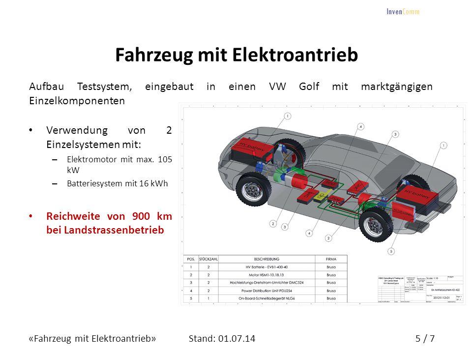 «Fahrzeug mit Elektroantrieb»5 / 7Stand: 01.07.14 InvenComm Fahrzeug mit Elektroantrieb Aufbau Testsystem, eingebaut in einen VW Golf mit marktgängige