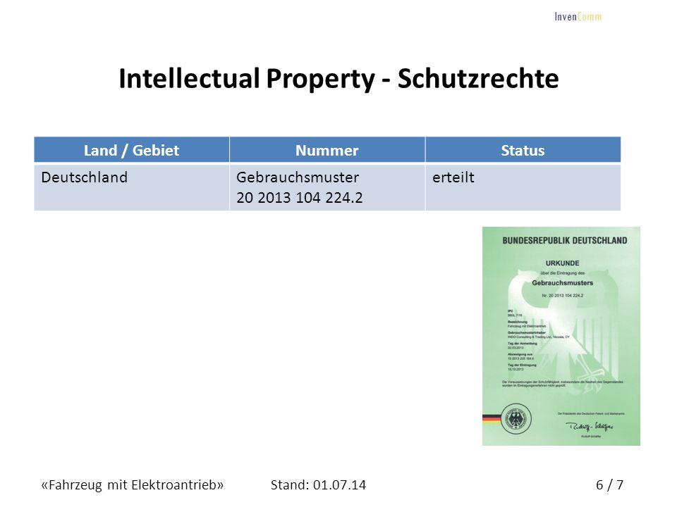 «Fahrzeug mit Elektroantrieb»6 / 7Stand: 01.07.14 InvenComm Intellectual Property - Schutzrechte Land / GebietNummerStatus DeutschlandGebrauchsmuster